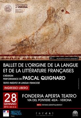 Ballet de l'origine de la langue et de la littérature Françaises - 28 gennaio 2016 - Ore 20:45