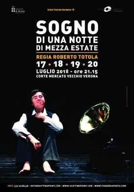 SOGNO DI UNA NOTTE DI MEZZA ESTATE - Corte Mercato Vecchio Verona martedì 17, mercoledì 18, giovedì 19 e venerdì 20 luglio 2018 ore 21.15